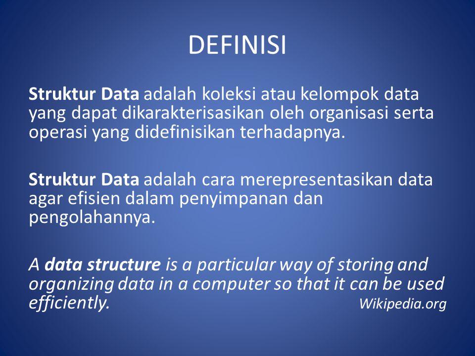 DEFINISI Struktur Data adalah koleksi atau kelompok data yang dapat dikarakterisasikan oleh organisasi serta operasi yang didefinisikan terhadapnya. S