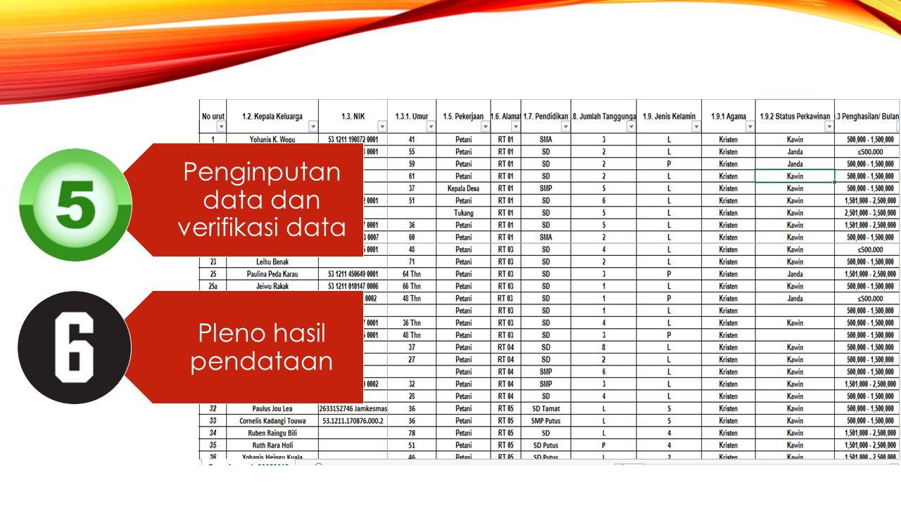 Penginputan data dan verifikasi data Pleno hasil pendataan