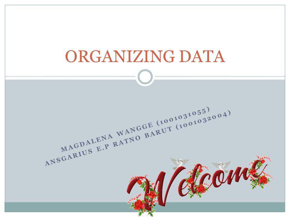 MAGDALENA WANGGE (1001031055) ANSGARIUS E.P RATNO BARUT (1001032004) ORGANIZING DATA
