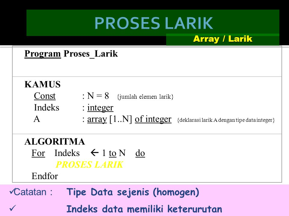 Array / Larik Catatan : Tipe Data sejenis (homogen) Indeks data memiliki keterurutan Program Proses_Larik KAMUS Const : N = 8 {jumlah elemen larik} Indeks : integer A : array [1..N] of integer {deklarasi larik A dengan tipe data integer} ALGORITMA For Indeks  1 to N do PROSES LARIK Endfor