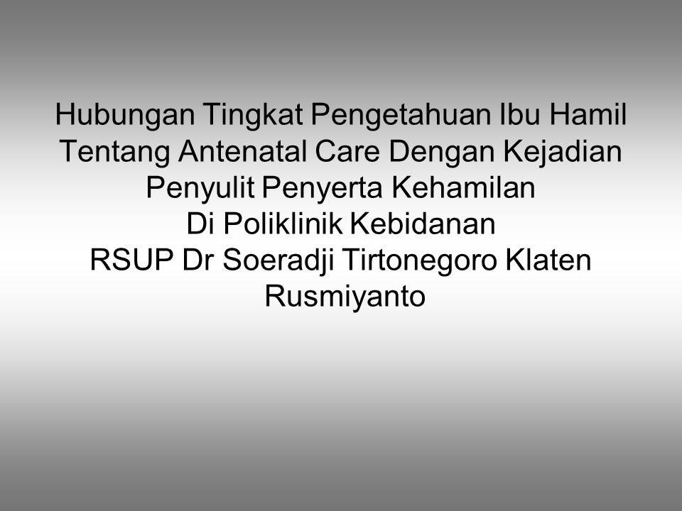 Latar belakang  Angka kematian ibu di Indonesia masih tertinggi di Asia tengara  Tingginya kematian ibu dipengaruhi ketidak patuhan ibu hamil melakukan antenatal care  Ibu hamil pertama kali tidak mengenali tanda-tanda bahaya kehamilan