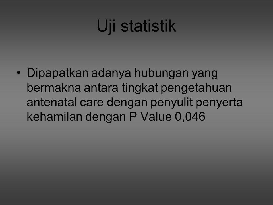 Uji statistik Dipapatkan adanya hubungan yang bermakna antara tingkat pengetahuan antenatal care dengan penyulit penyerta kehamilan dengan P Value 0,0