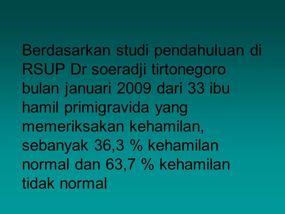  Berdasarkan studi pendahuluan di RSUP Dr soeradji tirtonegoro bulan januari 2009 dari 33 ibu hamil primigravida yang memeriksakan kehamilan, sebanya