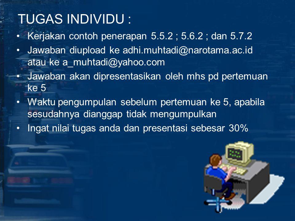 TUGAS INDIVIDU : Kerjakan contoh penerapan 5.5.2 ; 5.6.2 ; dan 5.7.2 Jawaban diupload ke adhi.muhtadi@narotama.ac.id atau ke a_muhtadi@yahoo.com Jawab