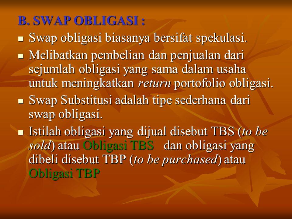 B. SWAP OBLIGASI : Swap obligasi biasanya bersifat spekulasi. Swap obligasi biasanya bersifat spekulasi. Melibatkan pembelian dan penjualan dari sejum