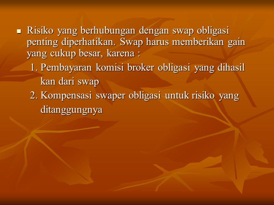 Risiko yang berhubungan dengan swap obligasi penting diperhatikan. Swap harus memberikan gain yang cukup besar, karena : Risiko yang berhubungan denga