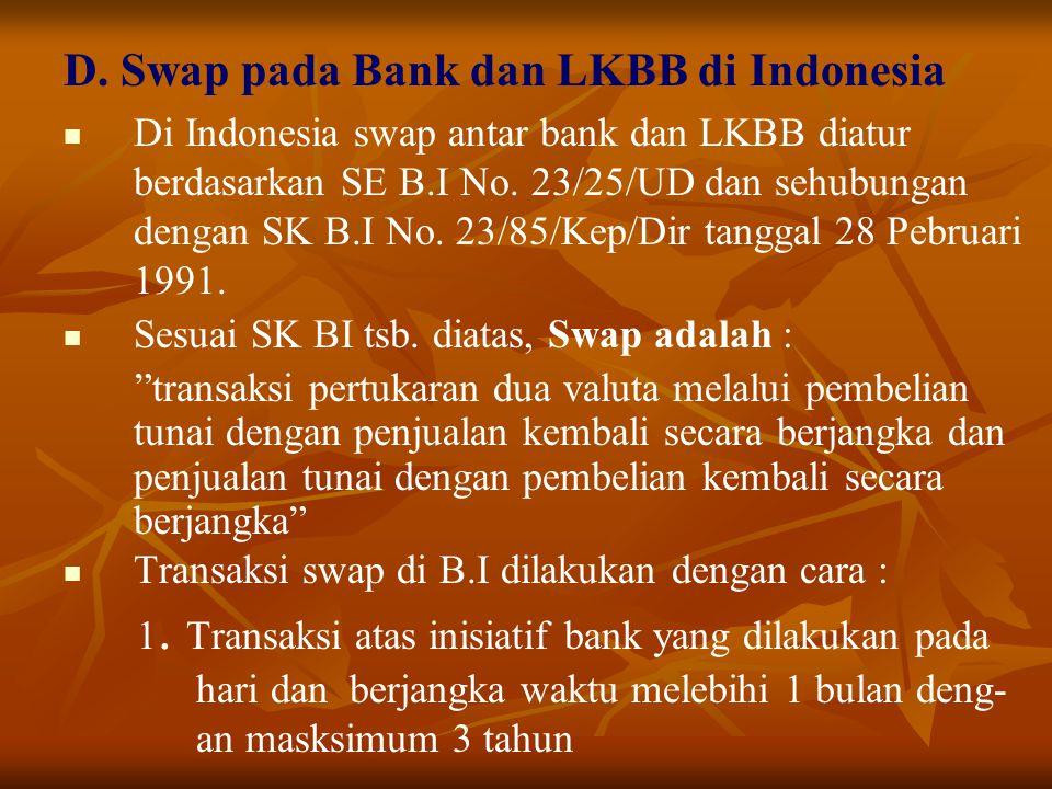 D. Swap pada Bank dan LKBB di Indonesia Di Indonesia swap antar bank dan LKBB diatur berdasarkan SE B.I No. 23/25/UD dan sehubungan dengan SK B.I No.