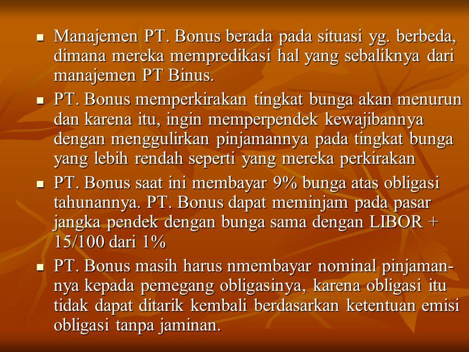 Manajemen PT. Bonus berada pada situasi yg. berbeda, dimana mereka mempredikasi hal yang sebaliknya dari manajemen PT Binus. Manajemen PT. Bonus berad
