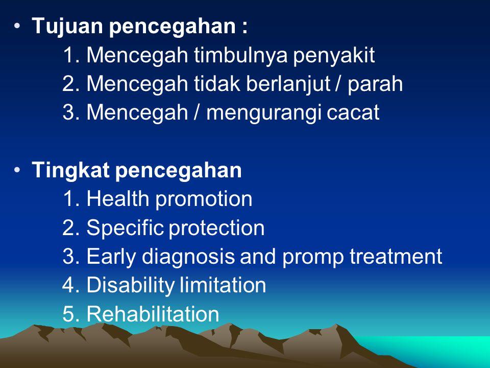 Tujuan pencegahan : 1.Mencegah timbulnya penyakit 2.