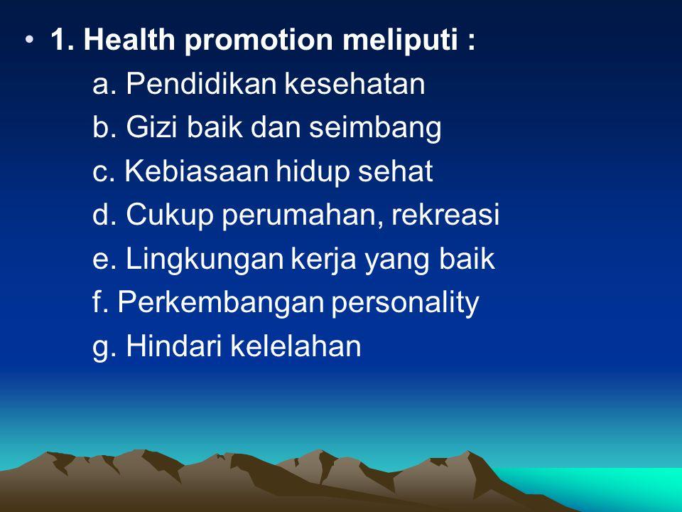 1.Health promotion meliputi : a. Pendidikan kesehatan b.