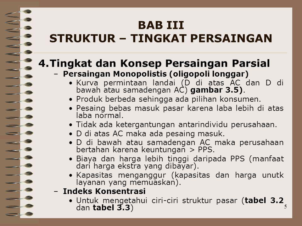 5 BAB III STRUKTUR – TINGKAT PERSAINGAN 4.Tingkat dan Konsep Persaingan Parsial –Persaingan Monopolistis (oligopoli longgar) Kurva permintaan landai (D di atas AC dan D di bawah atau samadengan AC) gambar 3.5).
