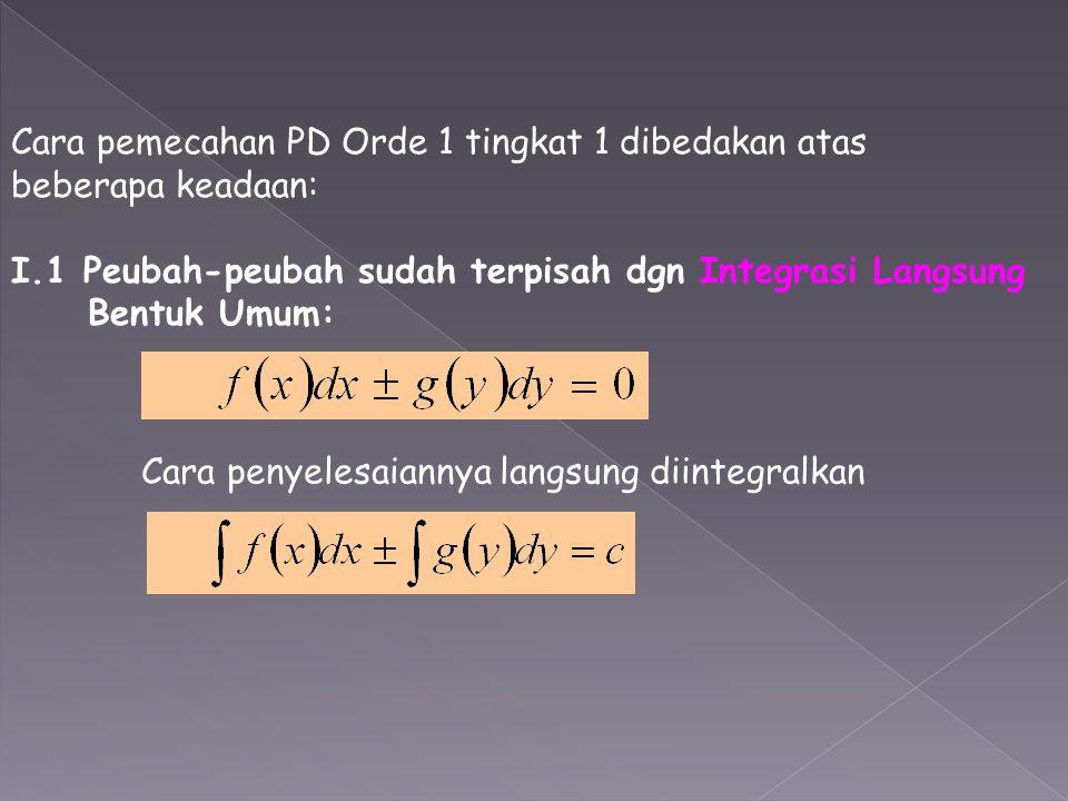 Cara pemecahan PD Orde 1 tingkat 1 dibedakan atas beberapa keadaan: I.1 Peubah-peubah sudah terpisah dgn Integrasi Langsung Bentuk Umum: Cara penyeles