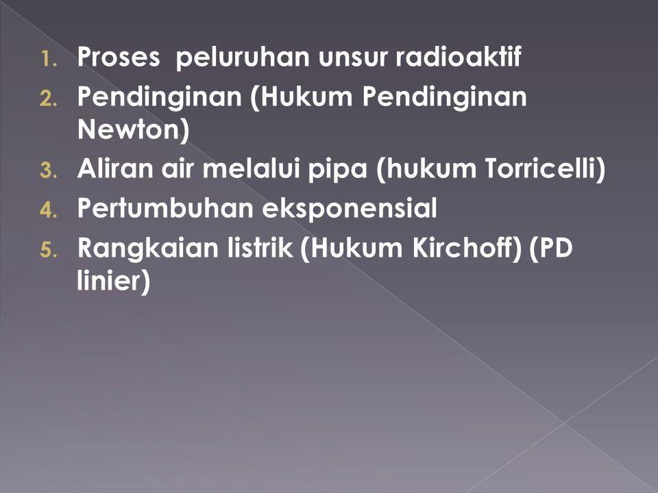 1. Proses peluruhan unsur radioaktif 2. Pendinginan (Hukum Pendinginan Newton) 3. Aliran air melalui pipa (hukum Torricelli) 4. Pertumbuhan eksponensi