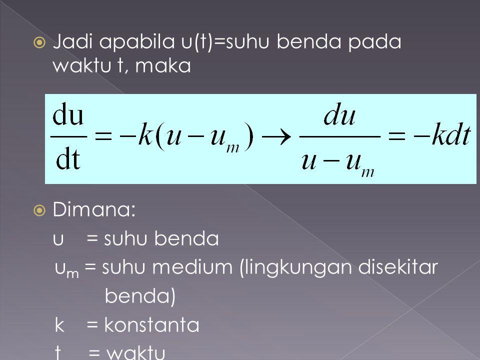  Jadi apabila u(t)=suhu benda pada waktu t, maka  Dimana: u = suhu benda u m = suhu medium (lingkungan disekitar benda) k = konstanta t = waktu