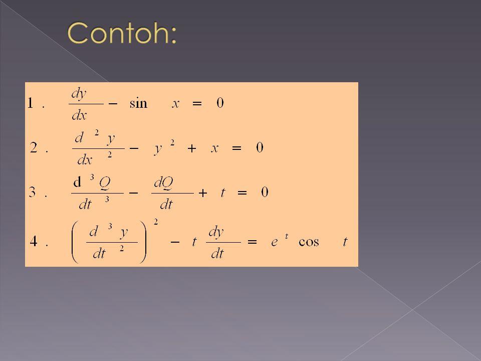 ORDER (tingkat) dari suatu PD: diambil dari tingkat derivatif yang tertinggi.