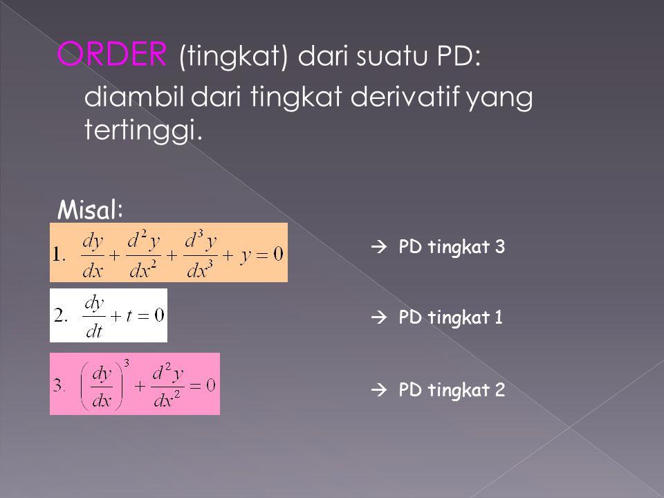ORDER (tingkat) dari suatu PD: diambil dari tingkat derivatif yang tertinggi. Misal:  PD tingkat 3  PD tingkat 1  PD tingkat 2