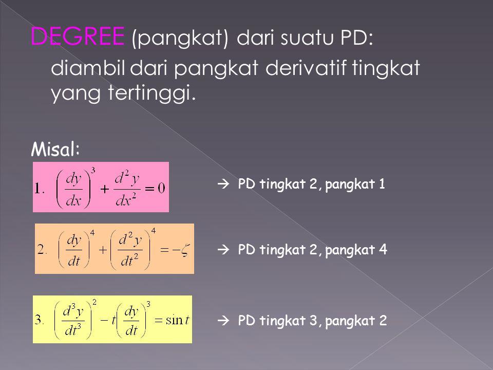 DEGREE (pangkat) dari suatu PD: diambil dari pangkat derivatif tingkat yang tertinggi. Misal:  PD tingkat 2, pangkat 1  PD tingkat 2, pangkat 4  PD