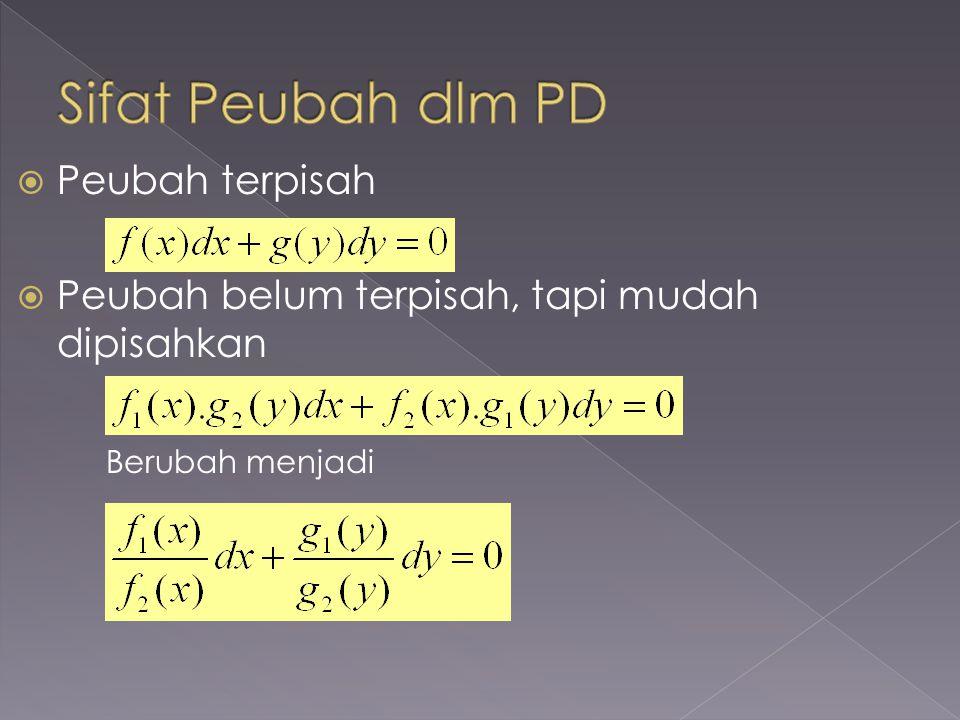 I.PD tingkat 1, pangkat 1 1.Peubah-peubah sudah terpisah 2.Peubah-peubah belum terpisah dan mudah dipisahkan 3.Peubah-peubah belum terpisah dan sulit dipisahkan a.PD Homogen b.PD Linier c.PD Eksak d.PD Bernoulli II.PD tingkat 2, pangkat 1 1.PD linier homogen 2.PD linier non homogen 3.PD Euler atau Cauchy 4.PD Legendre 5.PD Bessel