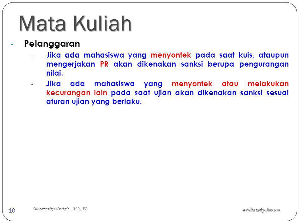 Mata Kuliah windarta@yahoo.com Matematika Diskrit - MP_TP 10 - Pelanggaran - Jika ada mahasiswa yang menyontek pada saat kuis, ataupun mengerjakan PR