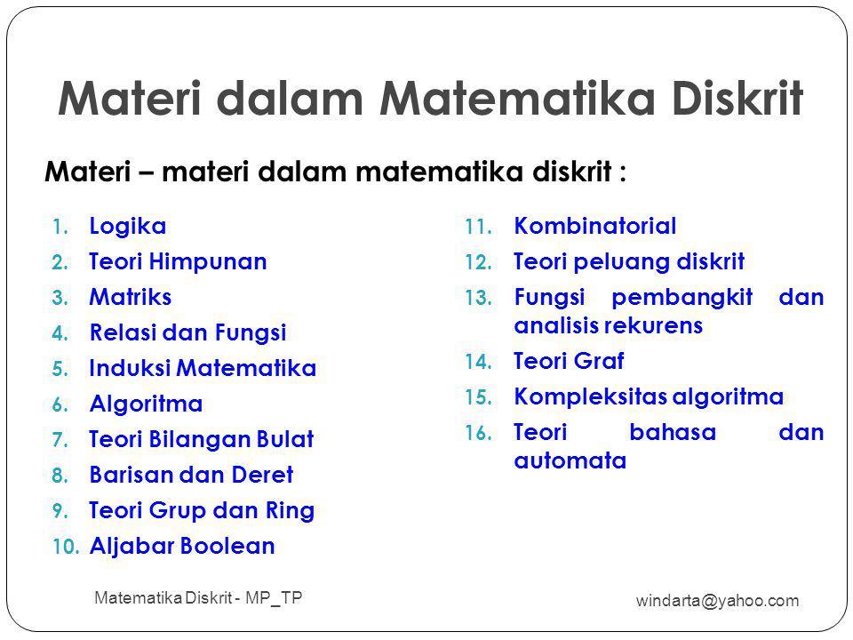 Materi dalam Matematika Diskrit windarta@yahoo.com Matematika Diskrit - MP_TP 11 1. Logika 2. Teori Himpunan 3. Matriks 4. Relasi dan Fungsi 5. Induks