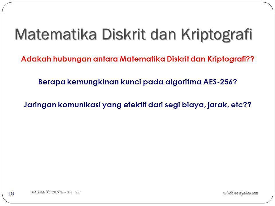 Matematika Diskrit dan Kriptografi windarta@yahoo.com Matematika Diskrit - MP_TP 16 Adakah hubungan antara Matematika Diskrit dan Kriptografi?? Berapa