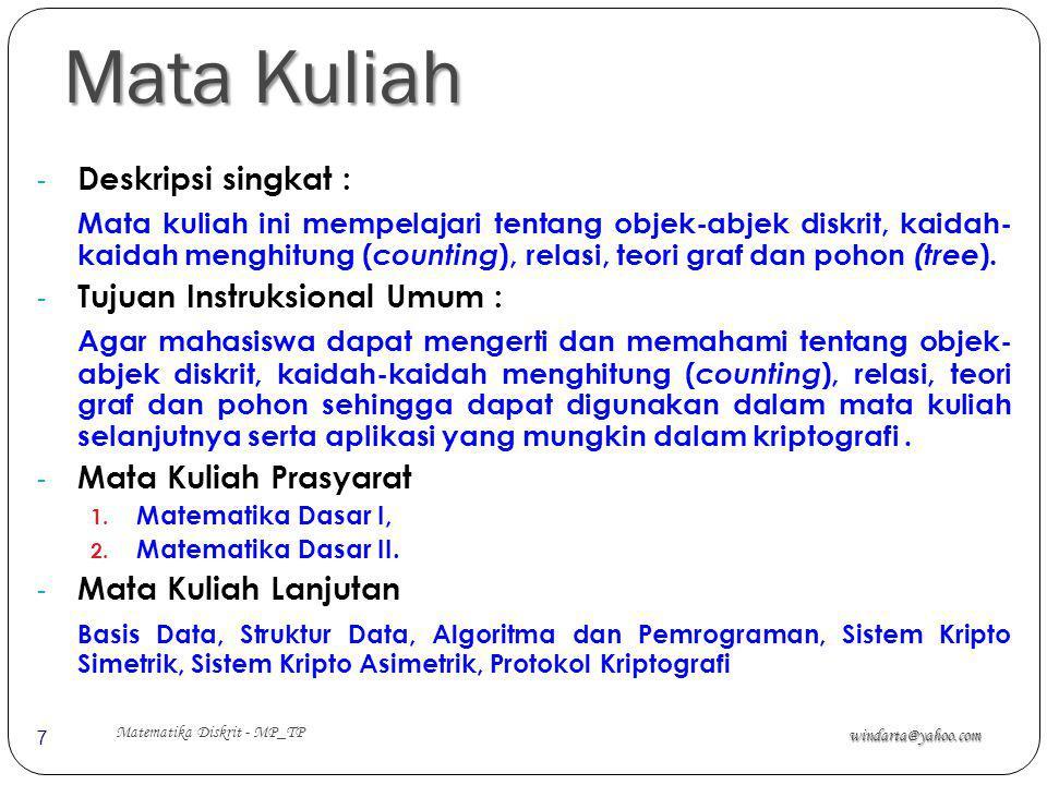 Mata Kuliah windarta@yahoo.com Matematika Diskrit - MP_TP 7 - Deskripsi singkat : Mata kuliah ini mempelajari tentang objek-abjek diskrit, kaidah- kai