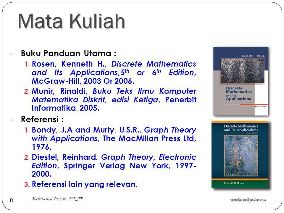 Mata Kuliah windarta@yahoo.com Matematika Diskrit - MP_TP 8 - Buku Panduan Utama : 1. Rosen, Kenneth H., Discrete Mathematics and Its Applications,5 t