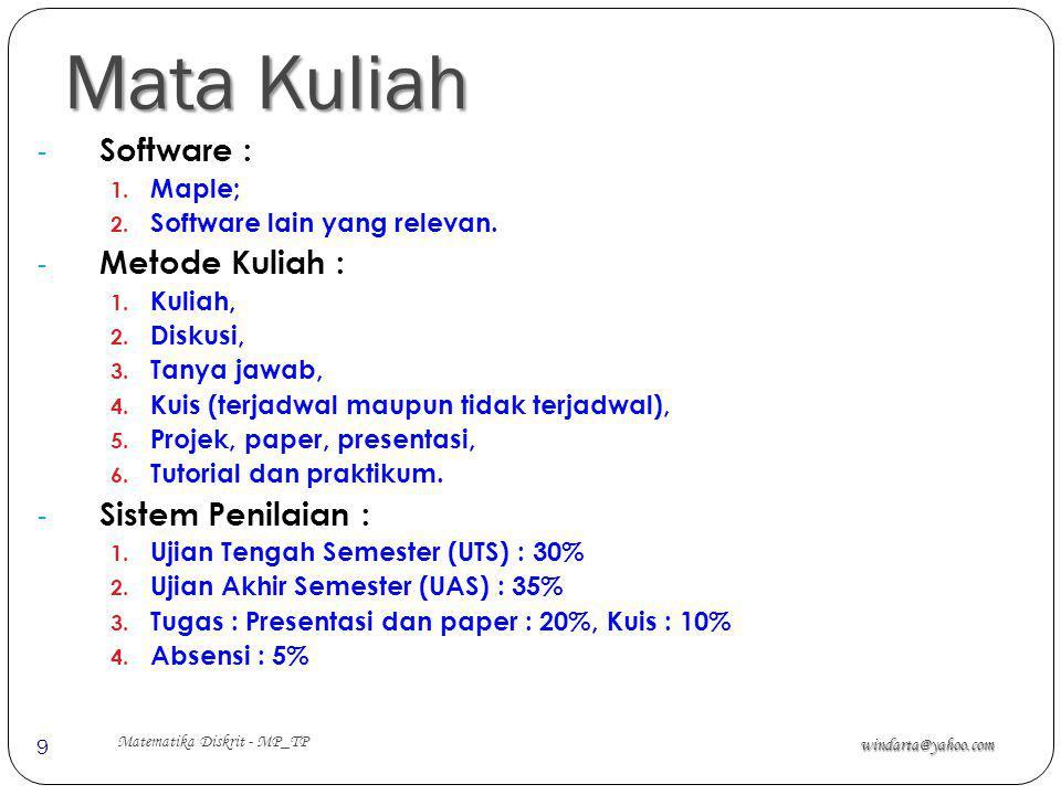 Mata Kuliah windarta@yahoo.com Matematika Diskrit - MP_TP 9 - Software : 1. Maple; 2. Software lain yang relevan. - Metode Kuliah : 1. Kuliah, 2. Disk