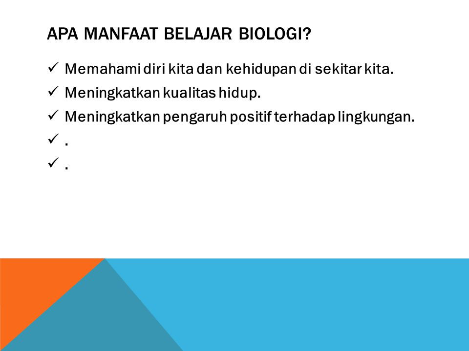 RUANG LINGKUP BIOLOGI ( BERDASARKAN TINGKAT ORGANISASI ) Bio molekuler, Biokimia, Genetika ( tingkat molekul ) Sitologi ( tingkat sel ) Histologi ( Tingkat jaringan ) Anatomi dan fisiologi ( tingkat organ dan sistem organ ) Biologi perkembangan ( tingkat individu ) Biologi populasi, biogeografi, dan genetika populasi ( tingkat populasi ) Ekologi, limnologi ( tingkat ekosistem ) Biologi tropis ( tingkat bioma )