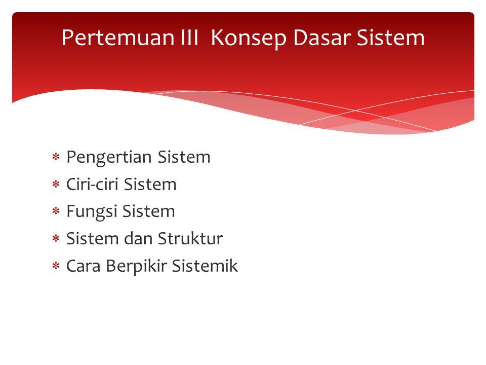  Pengertian Sistem  Ciri-ciri Sistem  Fungsi Sistem  Sistem dan Struktur  Cara Berpikir Sistemik Pertemuan III Konsep Dasar Sistem