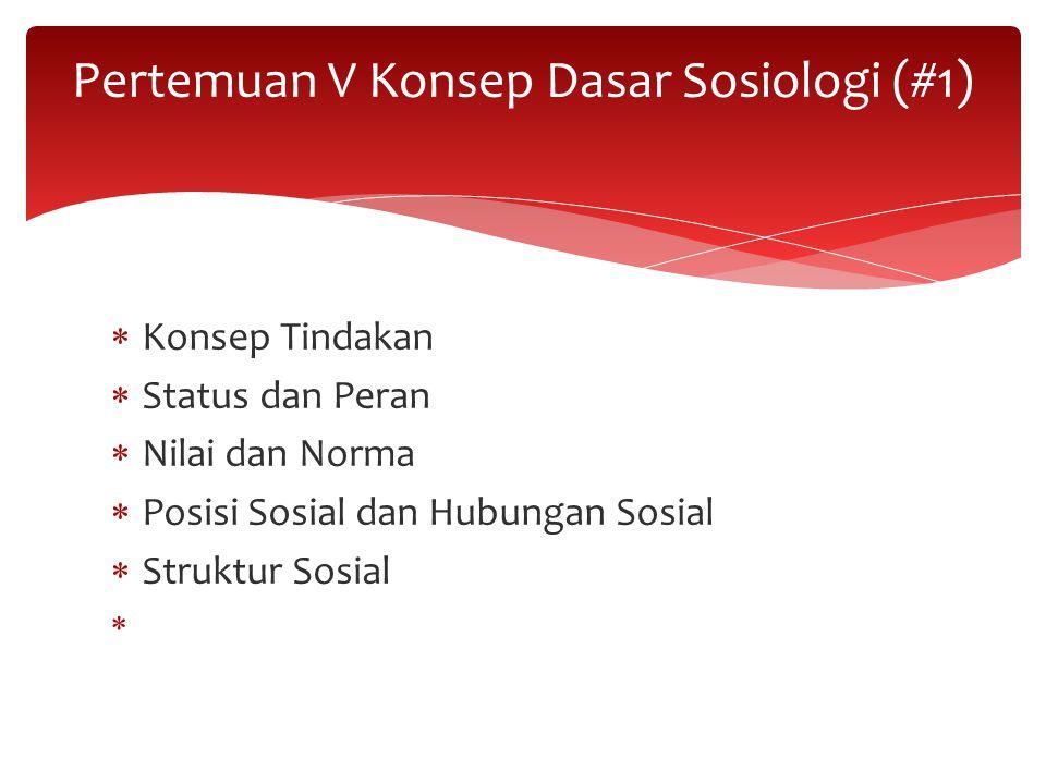 Konsep Tindakan  Status dan Peran  Nilai dan Norma  Posisi Sosial dan Hubungan Sosial  Struktur Sosial  Pertemuan V Konsep Dasar Sosiologi (#1)