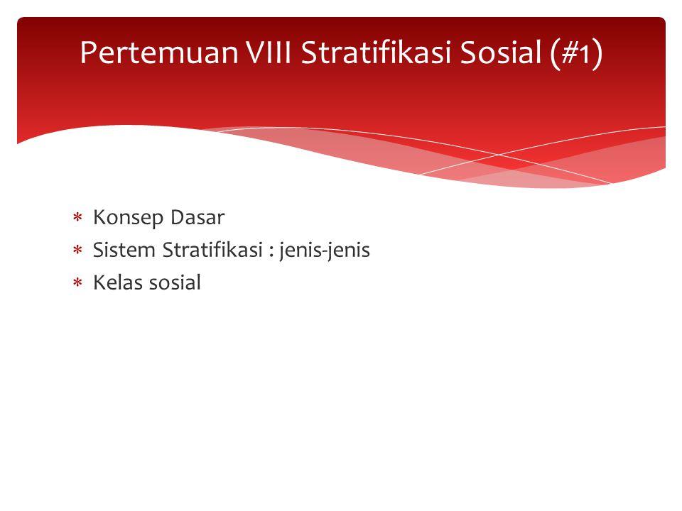  Konsep Dasar  Sistem Stratifikasi : jenis-jenis  Kelas sosial Pertemuan VIII Stratifikasi Sosial (#1)