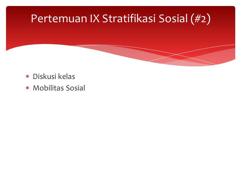  Diskusi kelas  Mobilitas Sosial Pertemuan IX Stratifikasi Sosial (#2)