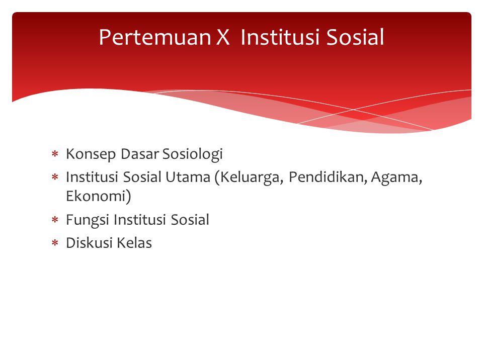  Konsep Dasar Sosiologi  Institusi Sosial Utama (Keluarga, Pendidikan, Agama, Ekonomi)  Fungsi Institusi Sosial  Diskusi Kelas Pertemuan X Institu