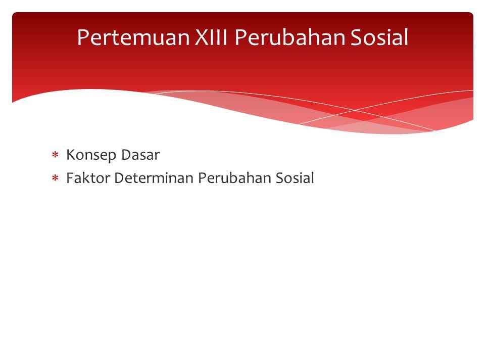  Konsep Dasar  Faktor Determinan Perubahan Sosial Pertemuan XIII Perubahan Sosial