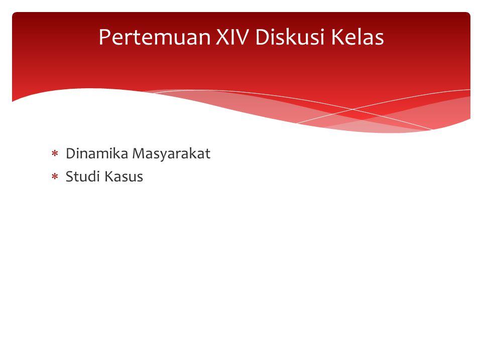  Dinamika Masyarakat  Studi Kasus Pertemuan XIV Diskusi Kelas