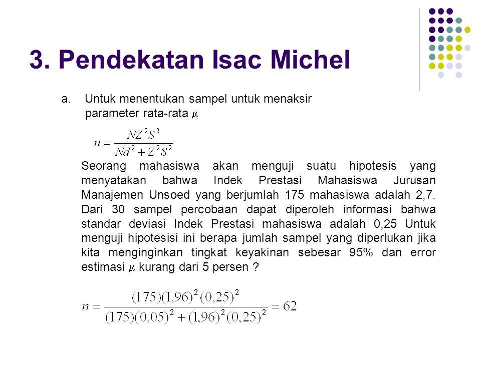 3. Pendekatan Isac Michel Seorang mahasiswa akan menguji suatu hipotesis yang menyatakan bahwa Indek Prestasi Mahasiswa Jurusan Manajemen Unsoed yang