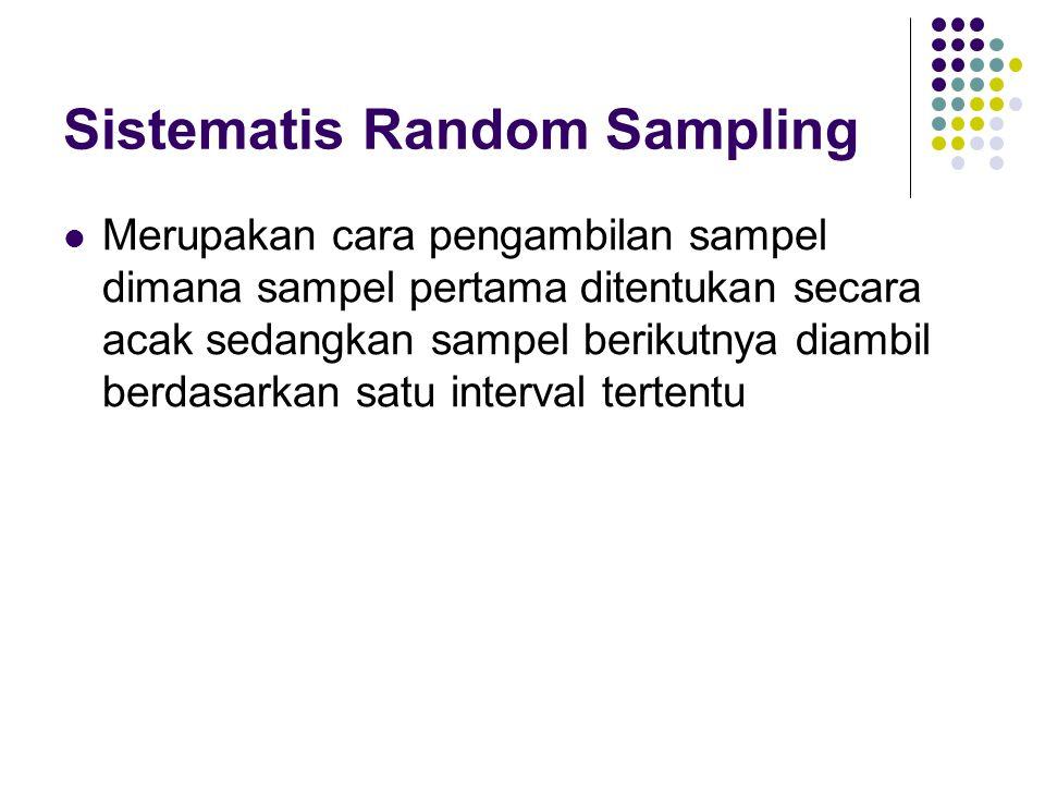 Sistematis Random Sampling Merupakan cara pengambilan sampel dimana sampel pertama ditentukan secara acak sedangkan sampel berikutnya diambil berdasar
