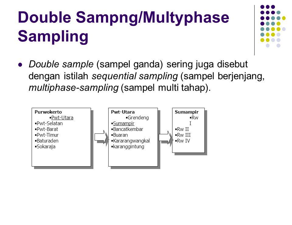 Double Sampng/Multyphase Sampling Double sample (sampel ganda) sering juga disebut dengan istilah sequential sampling (sampel berjenjang, multiphase-s