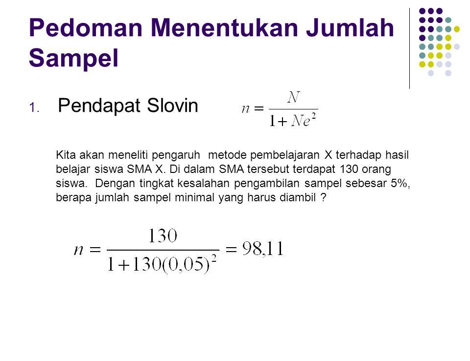 Pedoman Menentukan Jumlah Sampel 1. Pendapat Slovin Kita akan meneliti pengaruh metode pembelajaran X terhadap hasil belajar siswa SMA X. Di dalam SMA