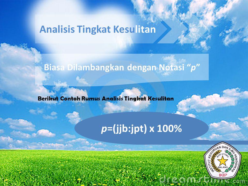 """Analisis Tingkat Kesulitan Biasa Dilambangkan dengan Notasi """"p"""" Berikut Contoh Rumus Analisis Tingkat Kesulitan p=(jjb:jpt) x 100%"""