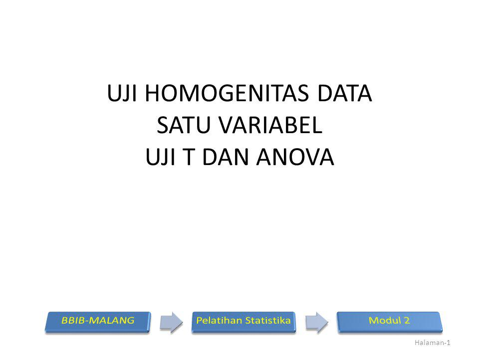 UJI HOMOGENITAS DATA SATU VARIABEL UJI T DAN ANOVA Halaman-1