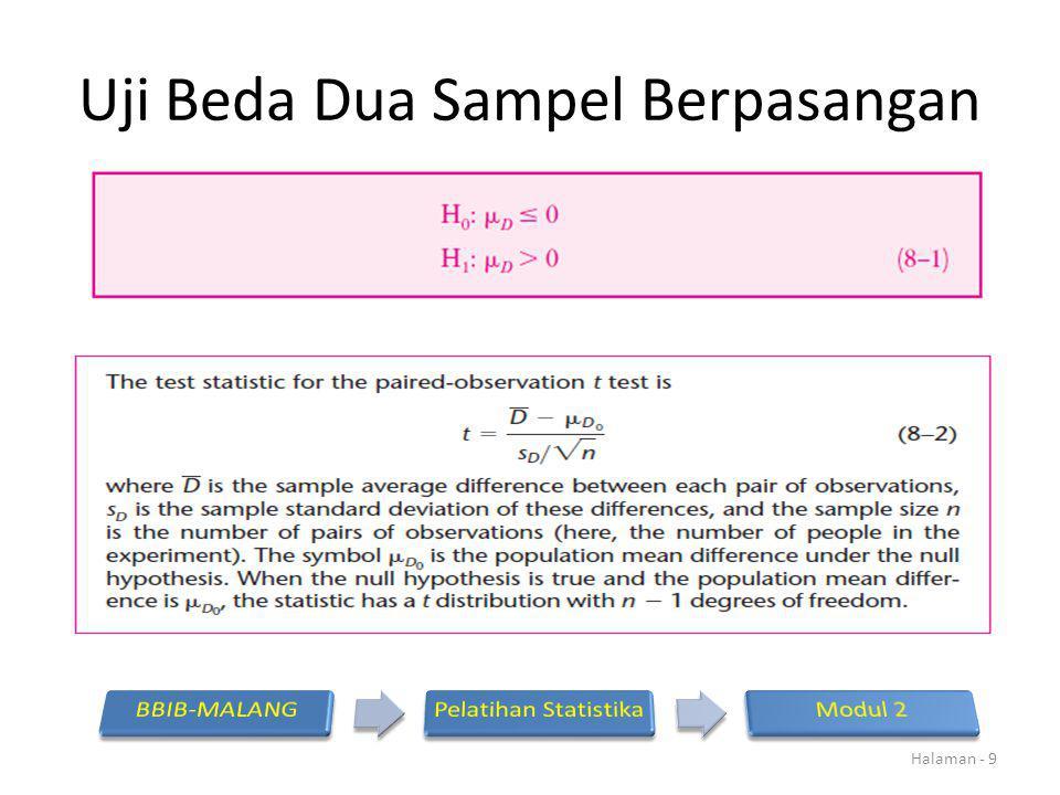 UJI T BERPASANGAN Hasil 60 pengamatan dari dua observer akan dilakukan uji apakah mempunyai hasil pengukuran yang homogen.