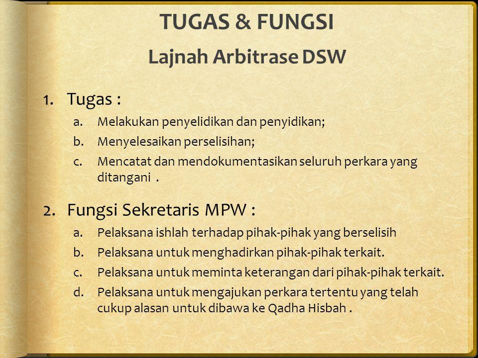 TUGAS & FUNGSI Lajnah Arbitrase DSW 1.Tugas : a.Melakukan penyelidikan dan penyidikan; b.Menyelesaikan perselisihan; c.Mencatat dan mendokumentasikan seluruh perkara yang ditangani.