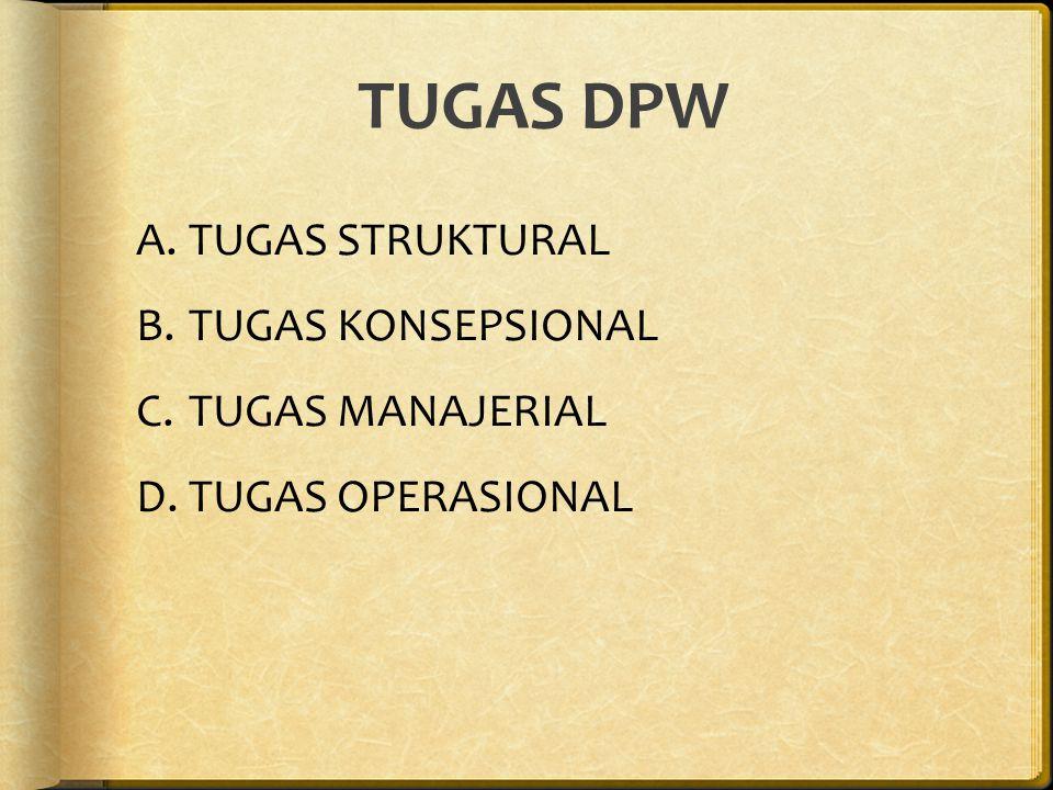 TUGAS DPW A.TUGAS STRUKTURAL B.TUGAS KONSEPSIONAL C.TUGAS MANAJERIAL D.TUGAS OPERASIONAL