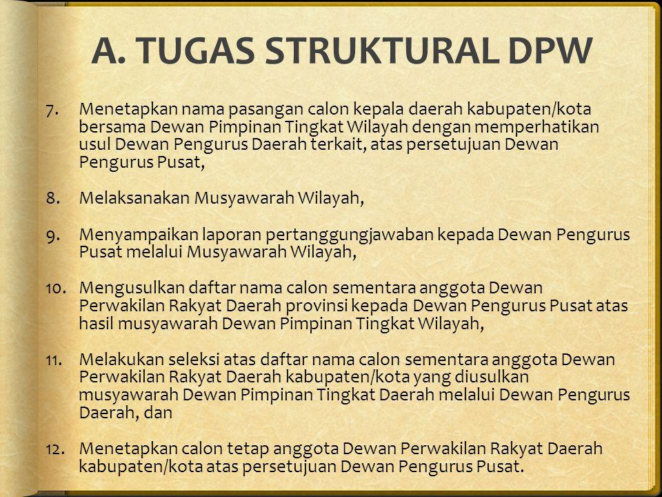 A. TUGAS STRUKTURAL DPW 7.Menetapkan nama pasangan calon kepala daerah kabupaten/kota bersama Dewan Pimpinan Tingkat Wilayah dengan memperhatikan usul