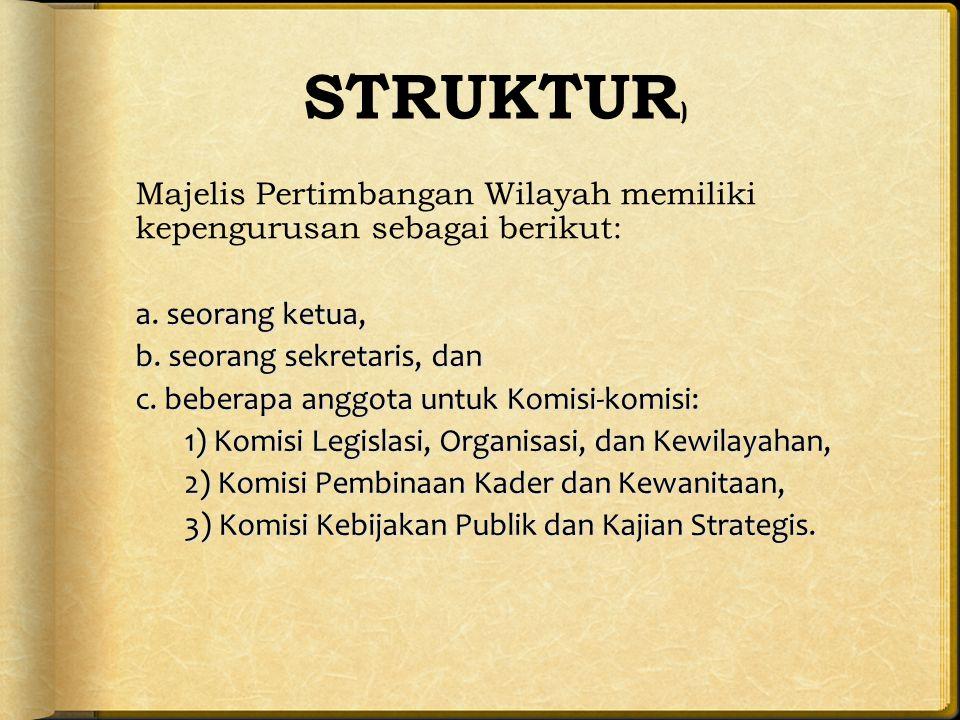 STRUKTUR ) Majelis Pertimbangan Wilayah memiliki kepengurusan sebagai berikut: a.