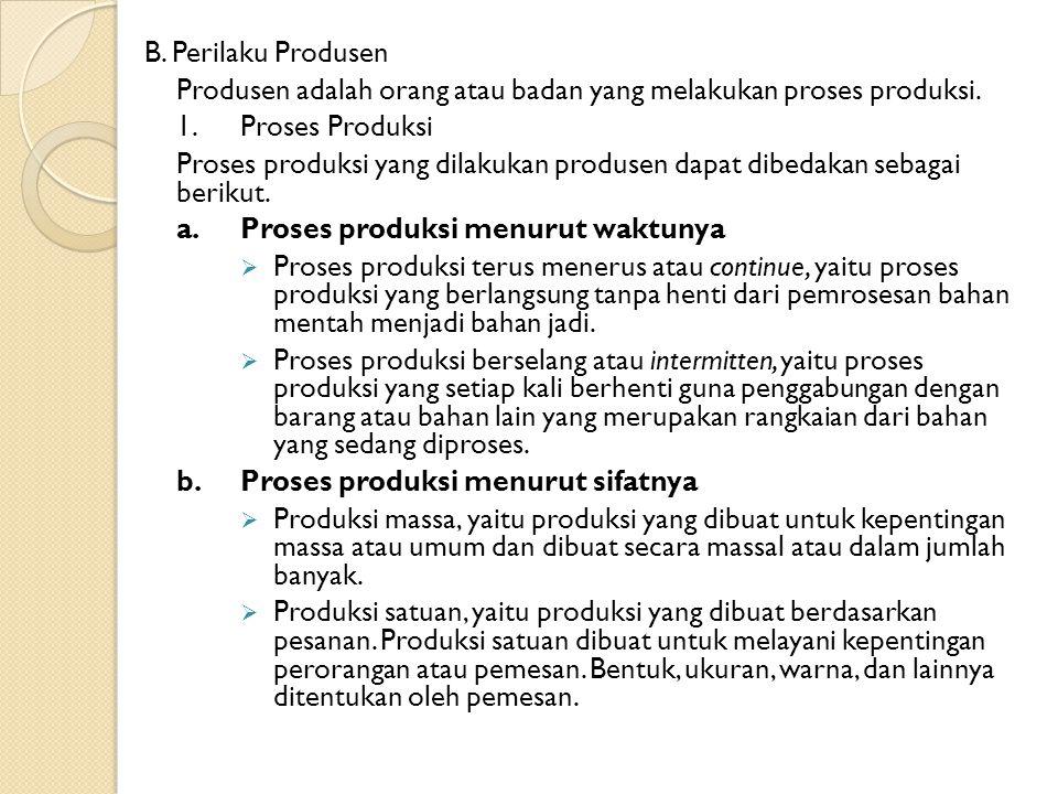 B. Perilaku Produsen Produsen adalah orang atau badan yang melakukan proses produksi. 1.Proses Produksi Proses produksi yang dilakukan produsen dapat