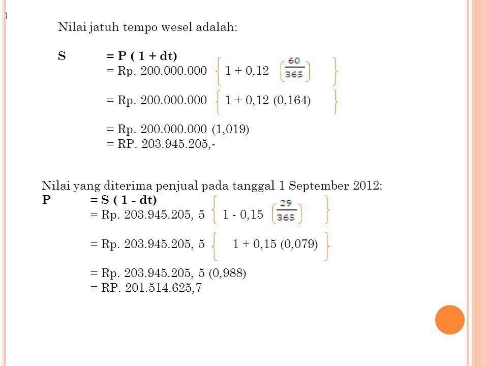 Nilai jatuh tempo wesel adalah: S= P ( 1 + dt) = Rp. 200.000.000 1 + 0,12 = Rp. 200.000.000 1 + 0,12 (0,164) = Rp. 200.000.000 (1,019) = RP. 203.945.2