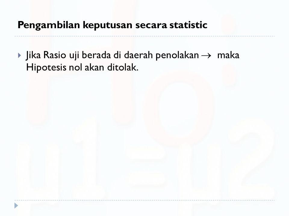 Pengambilan keputusan secara statistic  Jika Rasio uji berada di daerah penolakan  maka Hipotesis nol akan ditolak.